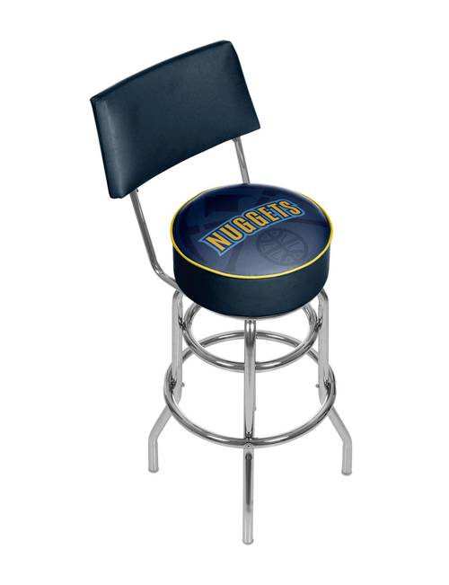 timeless design 544a7 74c54 Denver Nuggets Fade Logo Chrome Bar Stool with Back | Stage ...