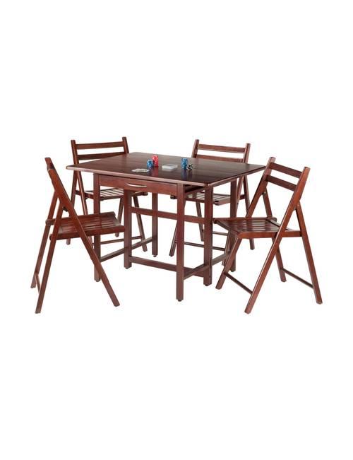 Peachy Winsome 5 Pc Taylor Drop Leaf Table Folding Chair Set Machost Co Dining Chair Design Ideas Machostcouk