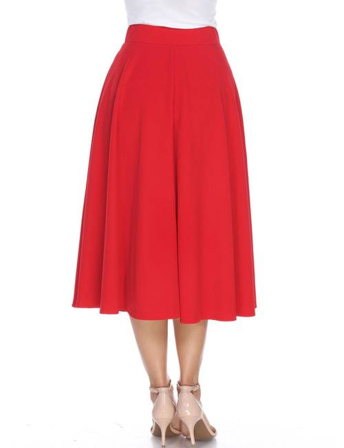release info on cute cheap deft design White Mark Women's Flared Midi Skirt with Pockets | Stage Stores