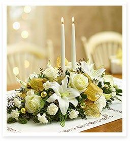 Holiday Spirit Shines Bright with White & Gold in our White Wonder Centerpiece