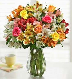 Assorted Roses & Peruvian Lilies + Free Vase