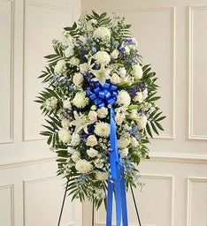 White & Blue Sympathy Standing Spray