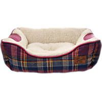 Bond & Co. Heritage Pink Plaid Bolster Dog Bed