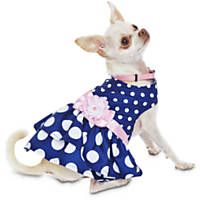 Bond & Co. Navy Polka Dot Pink Flower Dog Dress