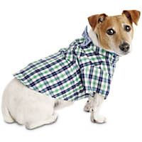 Bond & Co. Navy and Green Plaid Bow Tie Dog Shirt