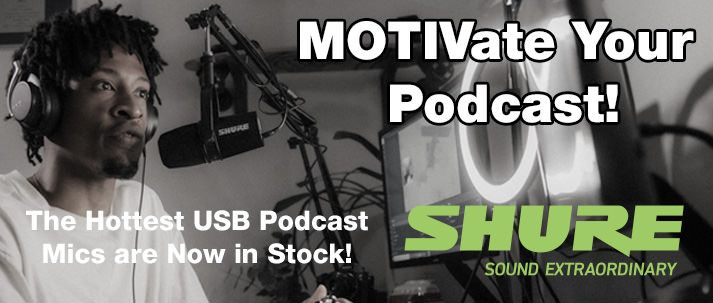 shure usb podcast mics in stock