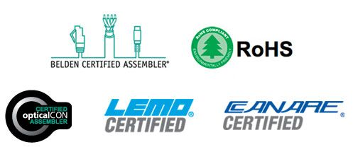 Markertek is Belden, Lemo, Canare Certified and RoHS compliant