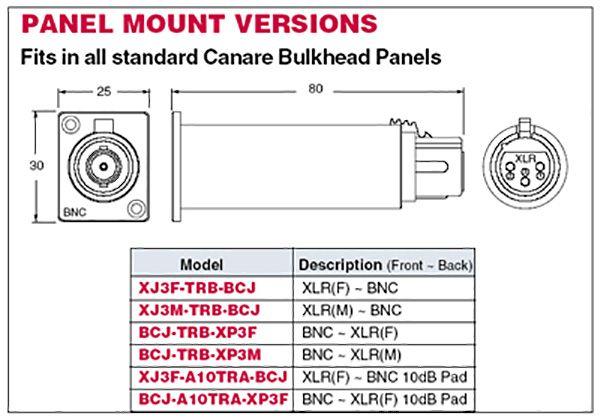 Canare BCJ-XP-TRB BNC-F In to XLR-M Out digital Audio Impedance Transformer