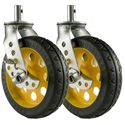 RocknRoller RCSTR8X2 8 Inch x 2 Inch R-Trac Caster with Brake for R12 - 2 Pack - Yellow Hub
