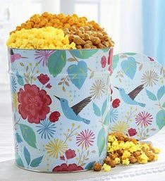 Hummingbird Garden 3 Way Popcorn Tin 3.5G