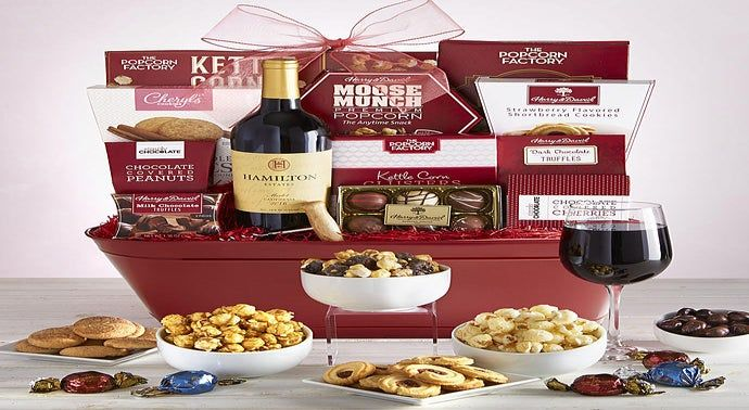 Exquisite Sweets  Wine Gift Basket