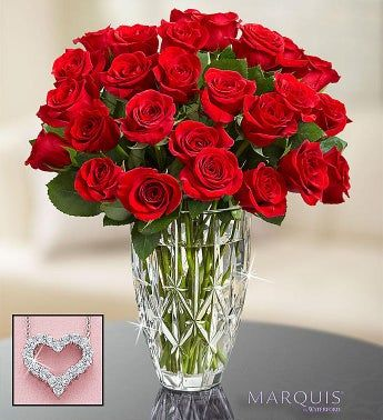 24 Red Roses in Waterford® Vase With Necklace