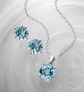 Blue Topaz Solitaire Earrings & Pendant Set