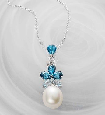Blue Topaz and Freshwater Pearl Pendant
