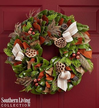 Southern Living® Preserved Magnolia Holiday Wreath