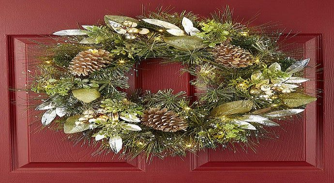 Winter Splendor Light Up Metallic Wreath- 24