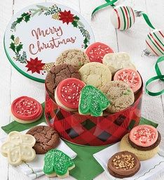 Merry Christmas Gift Tin -Holiday Cookie Assortment