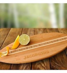 Engraved Bamboo Surfboard Cutting Board