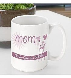 Personalized Hearts & Flowers Mug