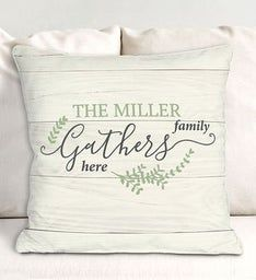 Personalized Family Gathers Throw Pillow