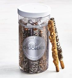 Simply Chocolate Decadent Dipped Pretzels in Jar