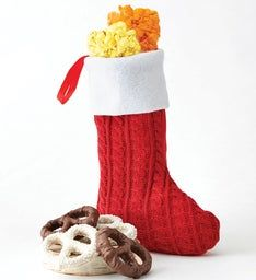 Red Knit Christmas Stocking with Glitter Pen