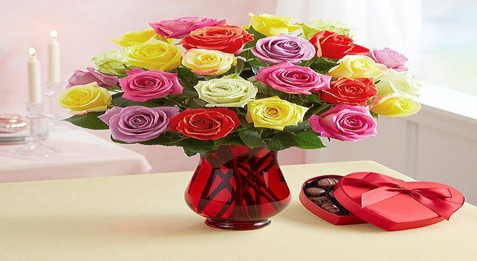Two Dozen Assorted Roses  Free Premium Vase