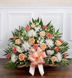Thoughts & Prayers™ Fireside Basket- Peach, Orange & White