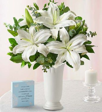 All White Lily Bouquet for Sympathy