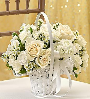 All White Flower Girl Arrangement