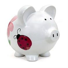 Personalized Hand-Painted Lady Bugs and Heart Flowers Piggy Bank