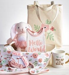 Pretty in Pink 9 pc Mom  Baby Gift Basket