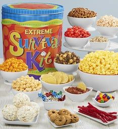 Extreme Survival Kit 3-Flavor Popcorn Tin or Snack Assortment