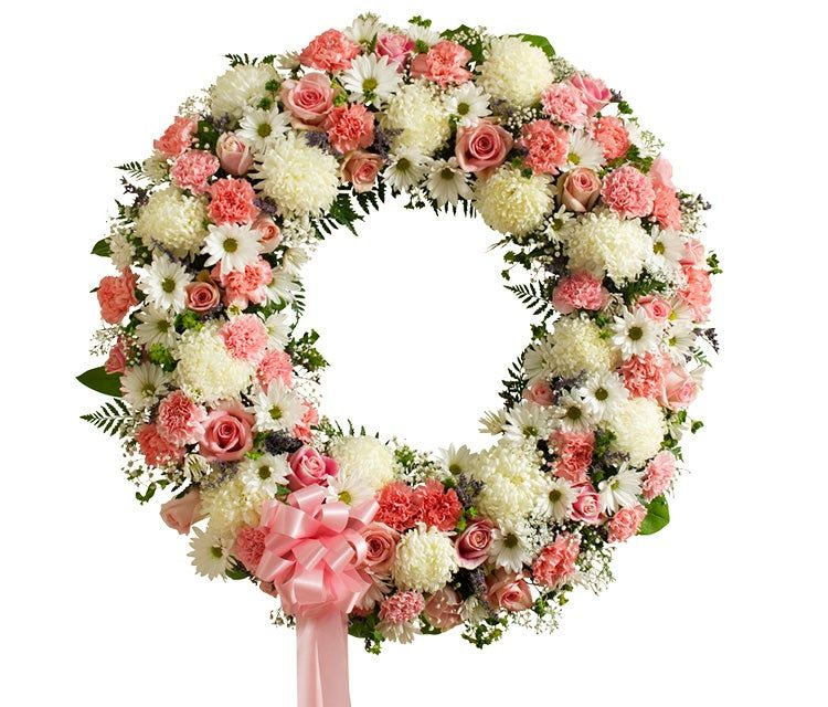 Sympathy White and Pink Funeral Wreath