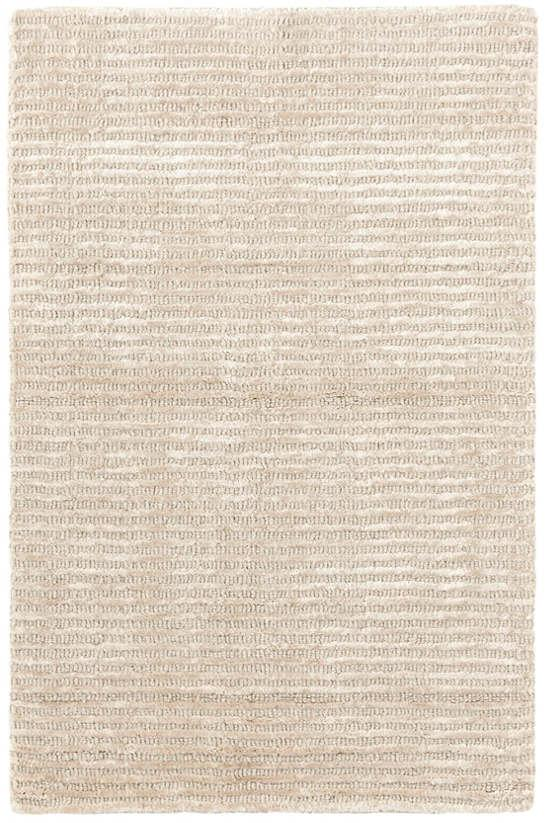 Cut Stripe Ivory Hand Knotted Viscose Wool Rug Dash Albert