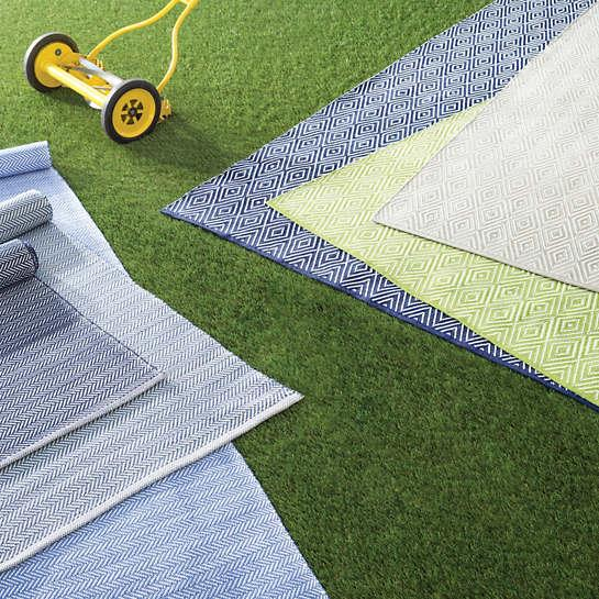 Diamond Navy White Indoor Outdoor Rug
