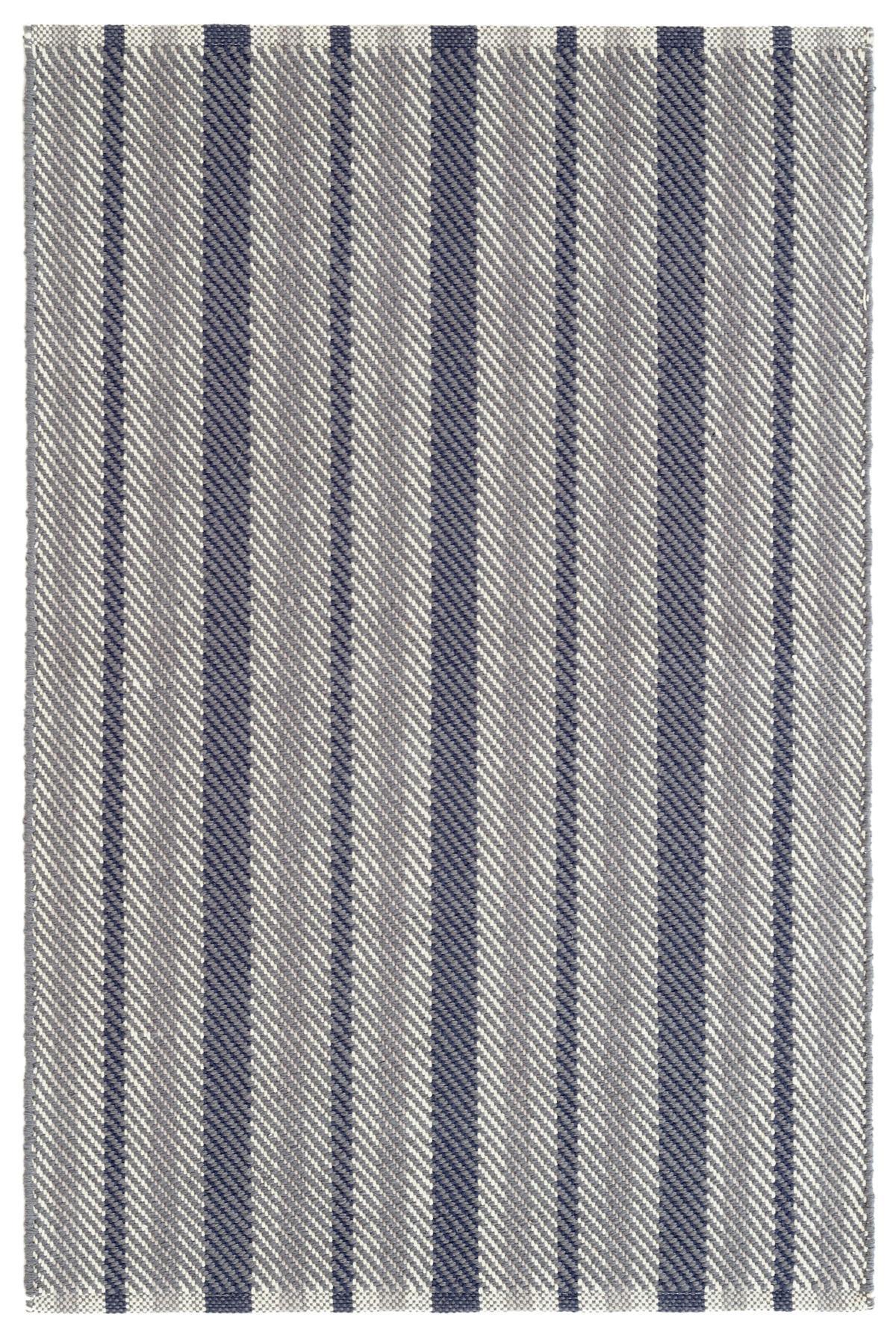 Herringbone Stripe Navy Woven Cotton