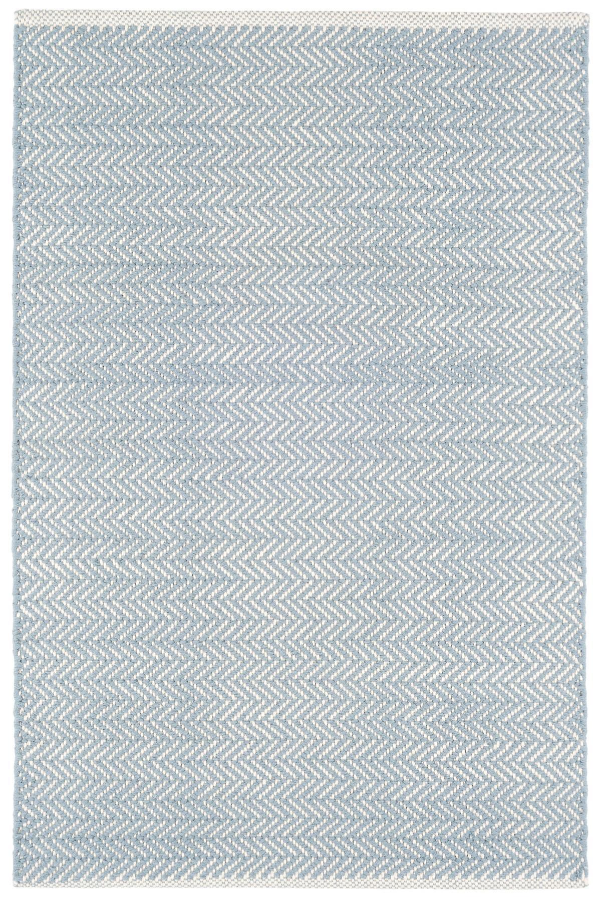 Herringbone Swedish Blue Woven Cotton