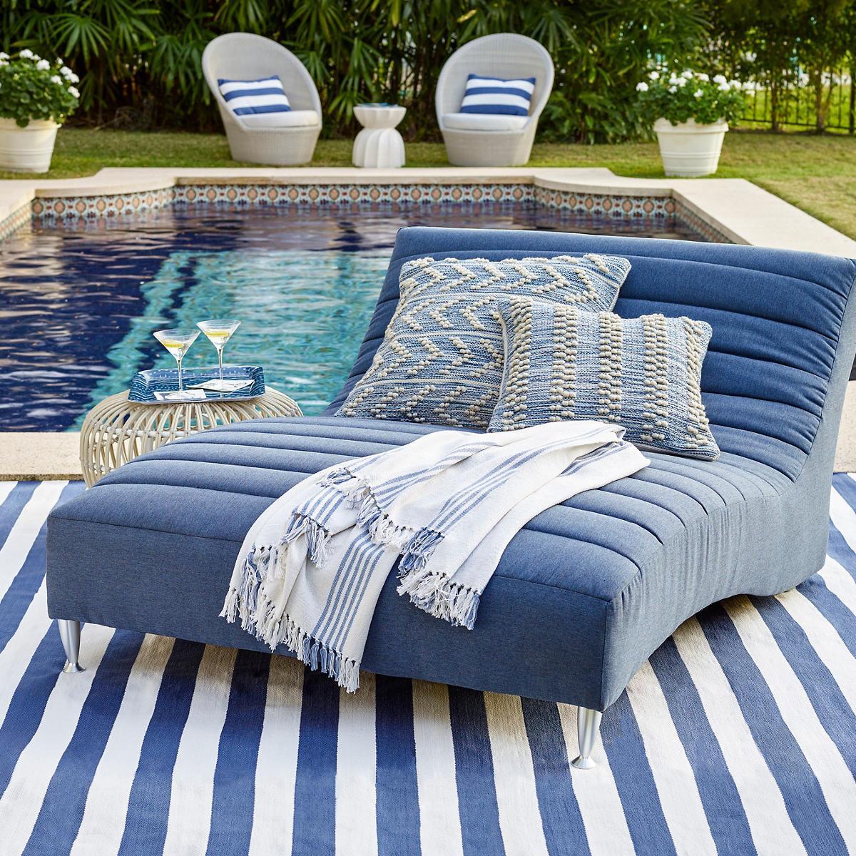 Hobnail Stripe Indoor Outdoor Decorative Pillow Fresh American
