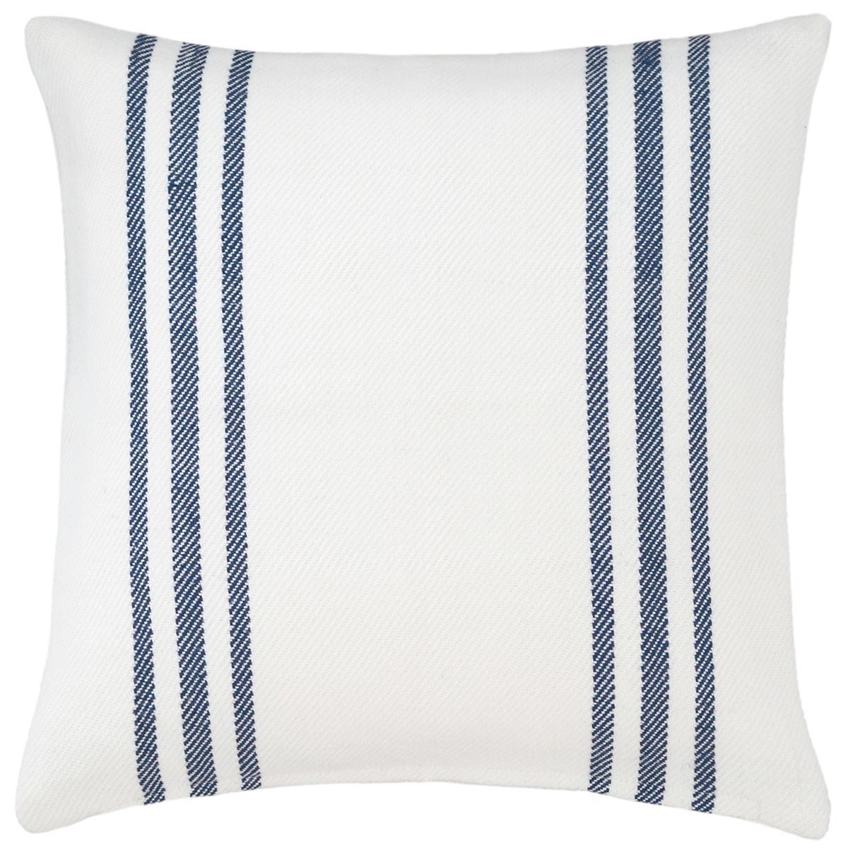 Cape Stripe White Navy Indoor Outdoor Pillow Fresh American