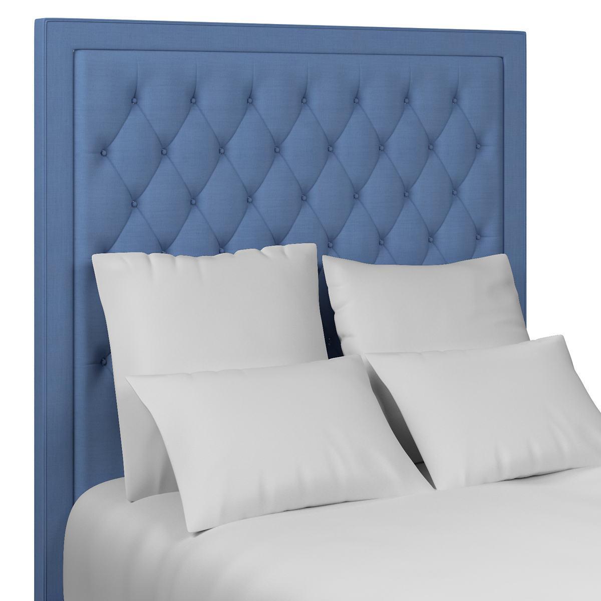 Estate Linen French Blue Stonington Tufted Headboard Furniture