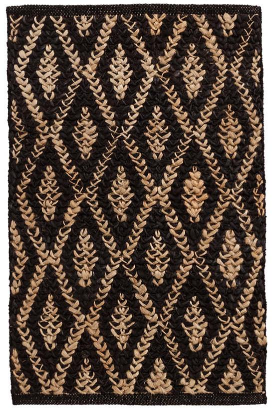 Two-Tone Diamond Black/Natural Woven