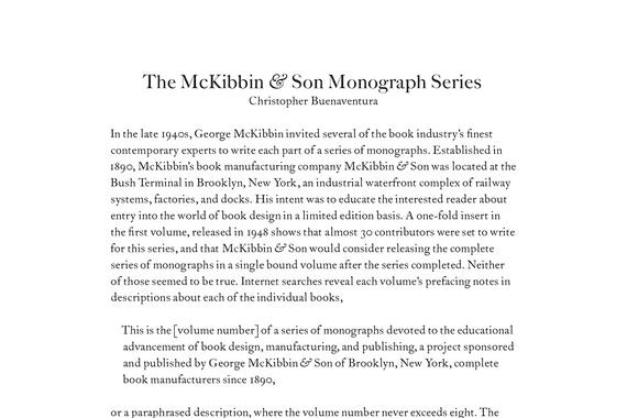 The McKibbin & Son Monograph Series