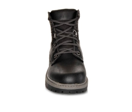 Kids Ankle Boots Faux Leather Lace Up Ankle Padded Hiking Shoes Black