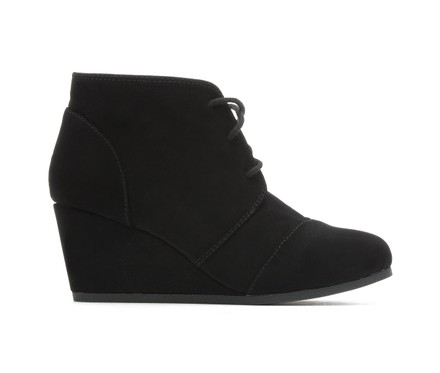 girls black wedge boots