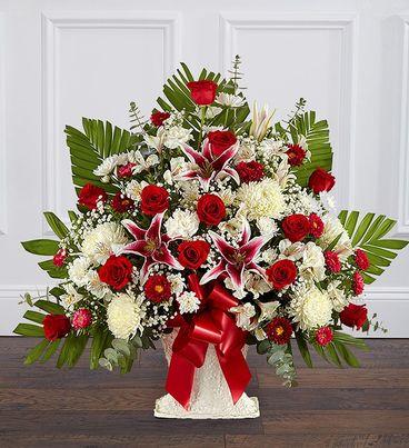 Heartfelt Tribute™ Red Rose & Lily Floor Basket Arrangement