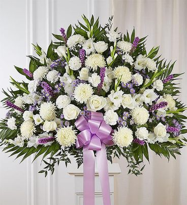 Heartfelt Sympathies™ Lavender & White Standing Basket