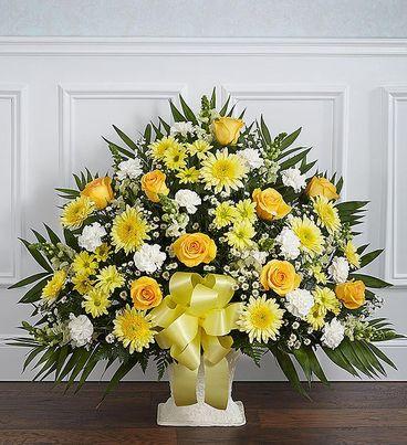 Heartfelt Tribute™ Yellow Floor Basket Arrangement