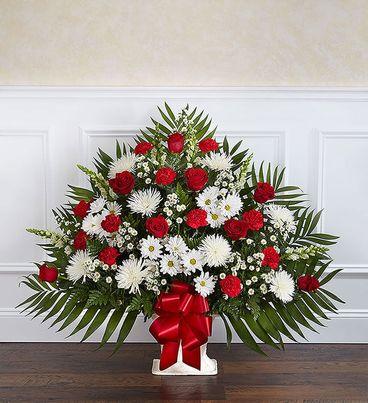 Heartfelt Tribute™ Red & White Floor Basket Arrangement