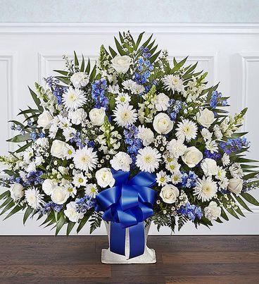 Heartfelt Tribute™ Blue & White Floor Basket Arrangement